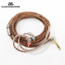 Audiosense 8 fios 19 núcleo ofc cabo 3.5mm com conector mmcx para t180 t260 t300 t800