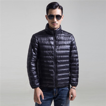 Autumn Winter Mens Clothing Casual Stand Collar Ultra Light Parka Coat Portable Outwear Windproof White Duck Down Jacket 4XL