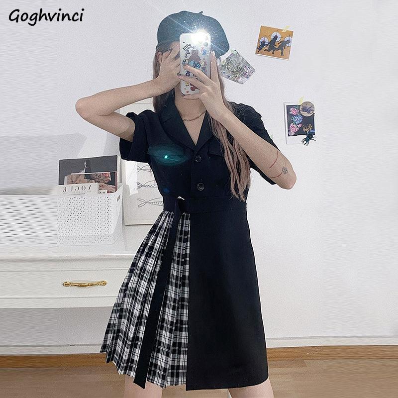 Kurzarm Kleid Frauen Asymmetrische Spitze Up Patchwork Plissee Kerb Plaid Frauen Koreanische Stil Sexy Trendy Elegante Casual Neue
