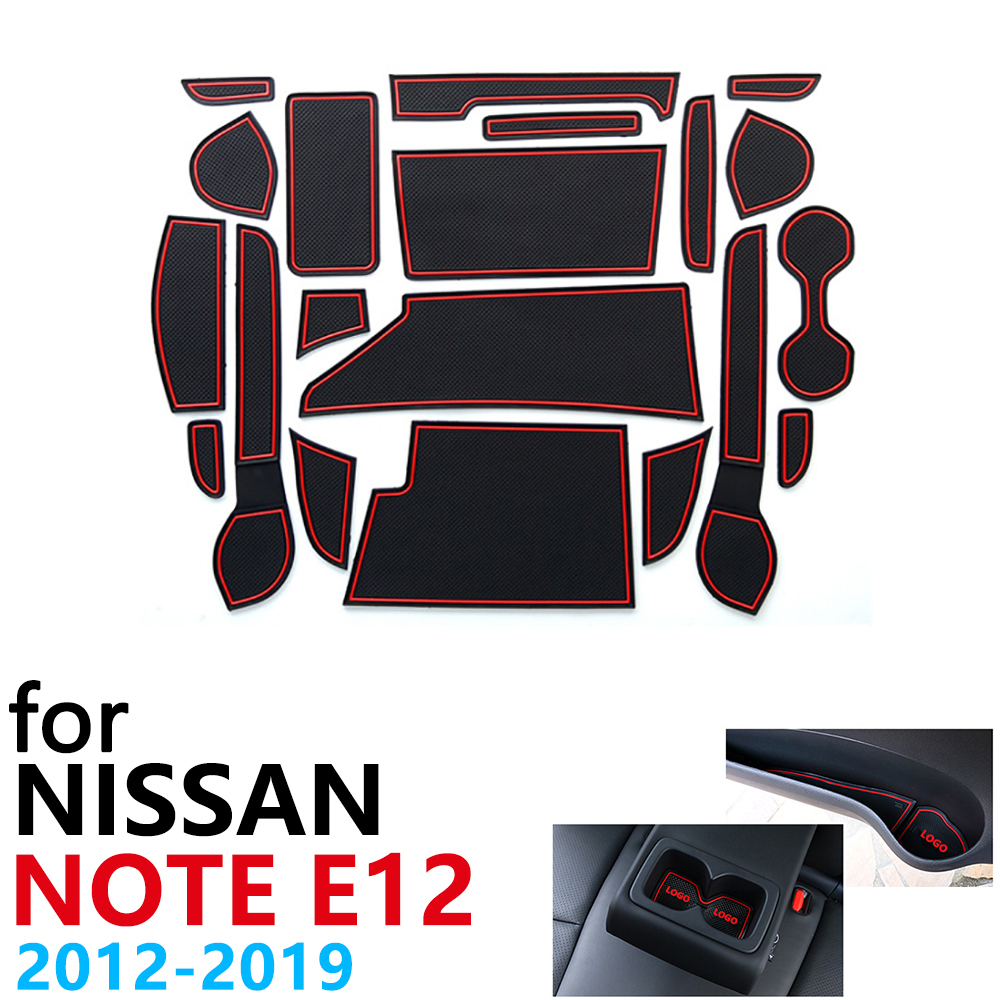 Anti-Slip Rubber Cup Cushion Door Groove Mat For Nissan Note E12 2012~2019 Accessories Car Stickers Mat For Phone Versa 2018