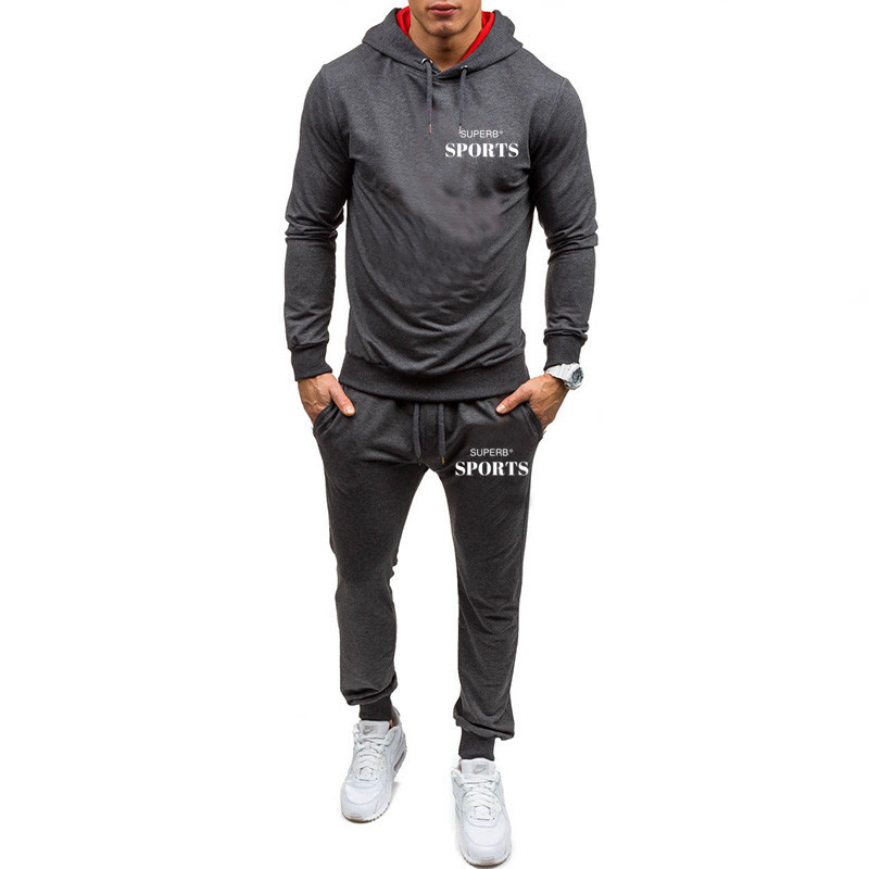 2019 Spring And Autumn Casual Sports Suit Men's Clothing Printed Sportswear Fashion Men's Hoodie + Trousers Two-piece