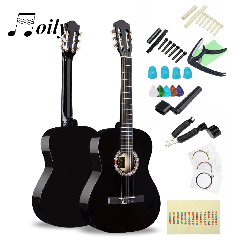 High Quality 38 Inch Acoustic Guitar 19 Frets 6 String Basswood Guitars For Beginner With Picks Tuner Full Accessories Sets