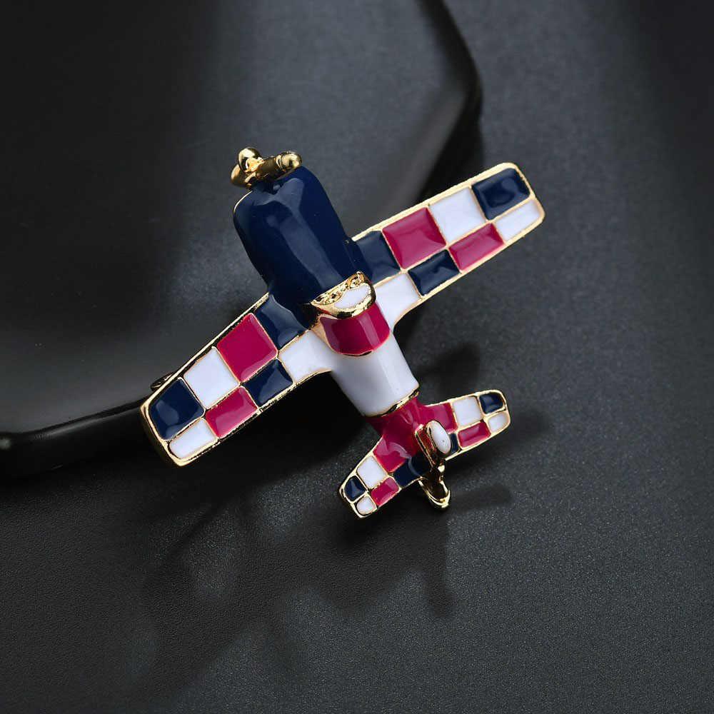 Kecil Yang Lucu Pesawat Bros Biru Enamel Bros Pin Pesawat Model Perhiasan Suit Pakaian Klip