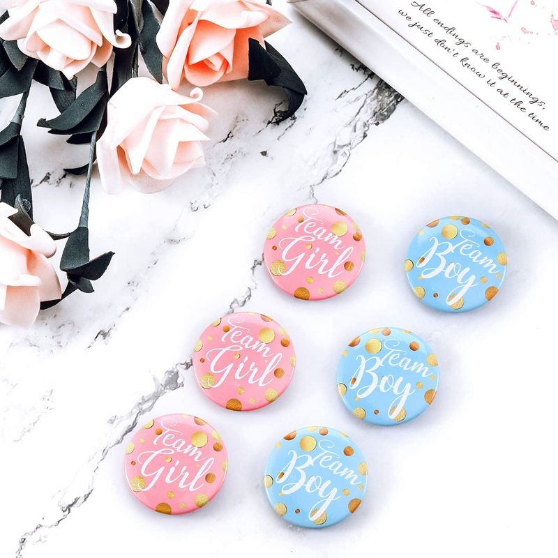 60-Piece Gender Display Pin Boy and Team Girl Button Pin Baby Shower Button Pink Button for Baby Party Party Supplies-1