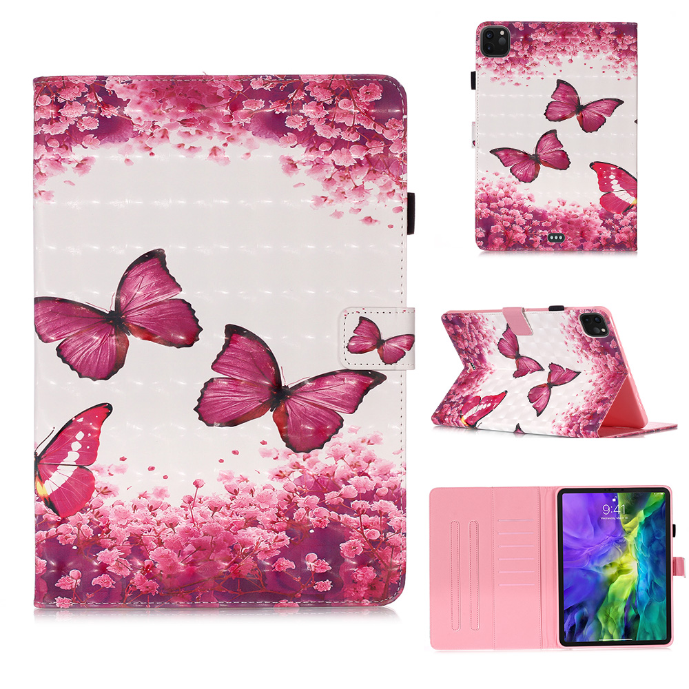 1 Red Fashion Painted Stand Case for IPad Pro 11 2020 Case 2018 PU Leather Cover Case for