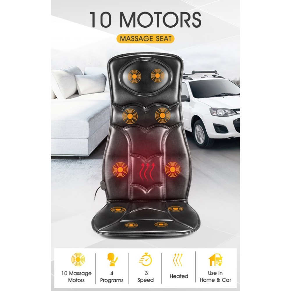 10 Motor Vibration Massage Chair Pad Seat Cushion W/ Heat For Home Office Car Wired Remote Easy Control Massage Chair
