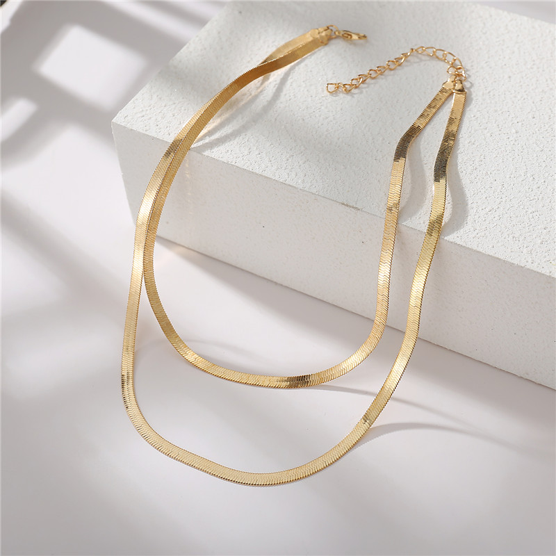 17KM Gold Color Double-Layered Snake Chain Link Choker Necklace For Women Bohemian Multilayer Chain Charm Necklaces Jewelry
