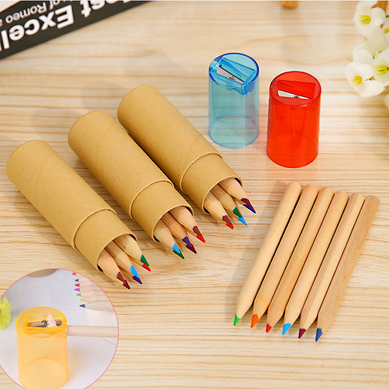 <font><b>6</b></font> <font><b>12</b></font> <font><b>24</b></font> colors/lot Kraft Paper Bottled Colored Pencils with Sharpener for Kids Students Gift DIY Drawing Graffiti Sketch School image
