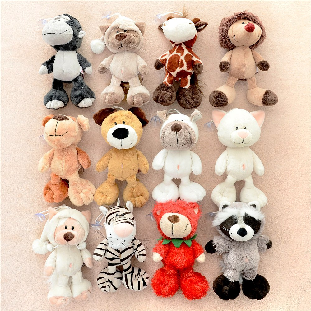 15 Cm Cute Germany  Jungle Brother Tiger Monkey Bear Hedgehog Donkey Giraffe Plush Animal Toy Free Shipping