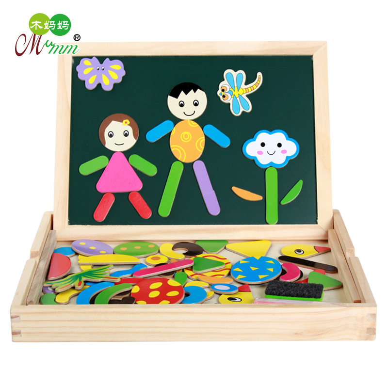 Wood Mom Children Wood System Jigsaw Puzzle Sided Magnetic Drawing Board Joypin Educational Toy