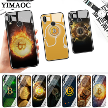BITCOIN coins Funny Glass Case for Huawei P10 P20 P30 Lite Pro P Smart Y6 Prime Y93 Mate 20