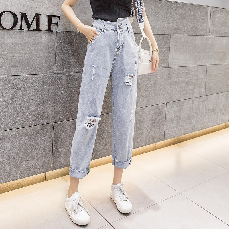 Harem Pants Women's 2019 New Style Korean-style WOMEN'S Jeans High-waisted Irregular With Holes Capri Jeans Harem Pants Women's