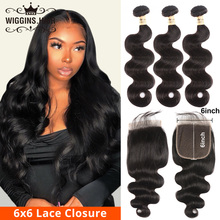 Body Wave Bundles With 6×6 Closure Pre Plucked Peruvian Hair 3 Bundles With Closure Free Part Swiss Lace Wiggins Remy Human Hair