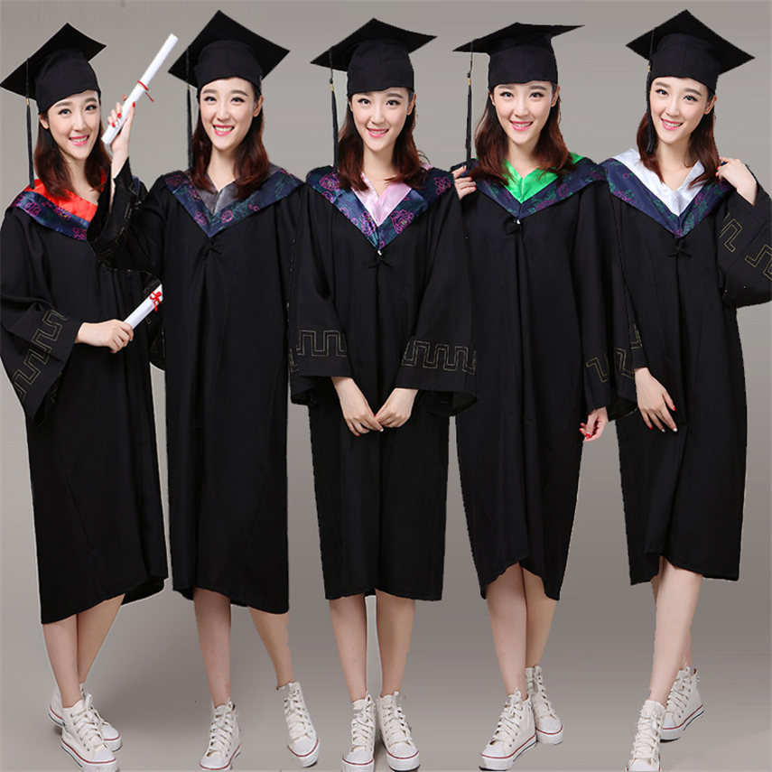 6Style University Graduation Gown Student High School Uniforms Class Team Wear Academic Dress For Adult Bachelor Robes+Hat Set