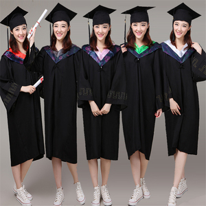 6Style University Graduation Gown Student High School Uniforms Class Team Wear Academic Dress for Adult Bachelor Robes+Hat Set(China)