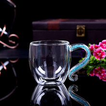 Coffee Mug Crystal Glass Cup Luxury Double Layers Milk Cup Tea Water Bottle Rhinstones Drinkware H1124