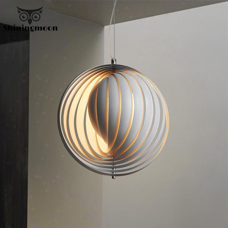 Nordic Creative LED Pendant Lights Modern Art Round Iron Office Decoration Pendant Light Luminaria Bedroom Kitchen Hanging Lamps
