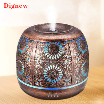 Air Humidifier 500ml Bronze Metal Mist Maker Aromatherapy Essential Oil Diffuser 7 Color Light Change For Home Bedroom Office - discount item  26% OFF Household Appliances