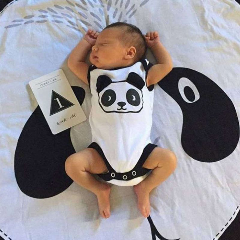 Cartoon Panda Cotton Kids Game Round Pad Baby Room Decoration Carpet Children Crawling Mat in Play Mats from Toys Hobbies