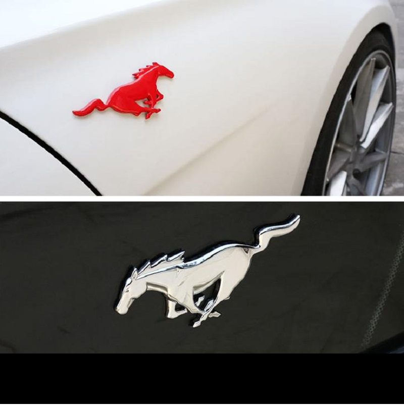 1pair High quality 3D Metal Wheat Mustang logo Running Horse car emblem Fender Side badge Sticker Auto styling