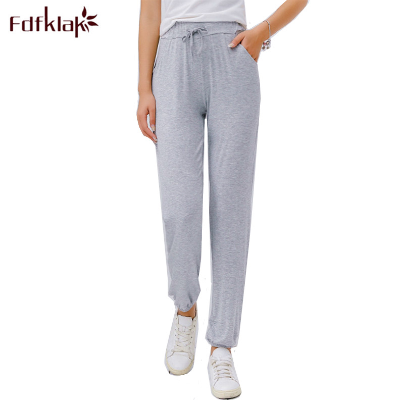 Large size sleepwear women bottoms sleep pants modal cotton pajama pants ankle-length pant lounge ladies home wear pant