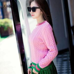 Image 5 - Brand Runway Designer 2020 Christmas Pearls Pink Sweater Pullover Women Autumn Winter Striped Female Knit Button Jumper Luxury
