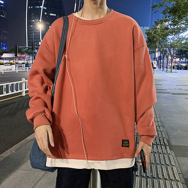 2020 Autumn Casual Sports Mock Two-Piece T-shirt Pullover Hoody Male Loose Crew Neck Long-sleeved Sweater Base Shirt Male 1