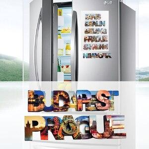 layers LETTERS wood 3d magnetic refrigerator magnet, Prague,Budapest,Haiti tourist souvenirs, magnetic fridge magnets(China)