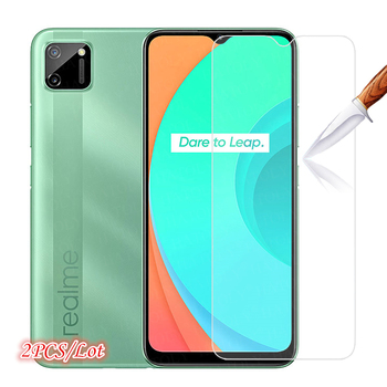 2Pcs Glass on Realme C15 Tempered Glass For Oppo Realme C11 C2 C3 C2S C3i Screen Protector HD Protective Phone Glass Realme C15