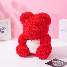 40 cm urso rosa ursinhos de pelúcia flor rosa urso diy presentes de natal presente do dia dos namorados