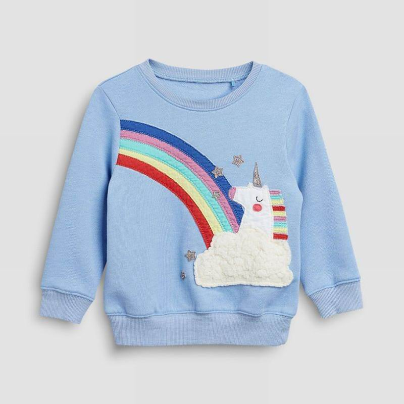Little maven 2-7Years Autumn Rainbow embroidery Toddler Kids Baby Girl Sweatshirt Children's Little Clothing For Girl's Sweater 2