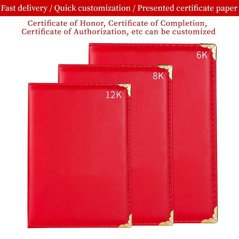 Custom Educational Certificate Printing Gold Folio Blank Customized Red Smooth Padded Diploma Of Graduation Folder