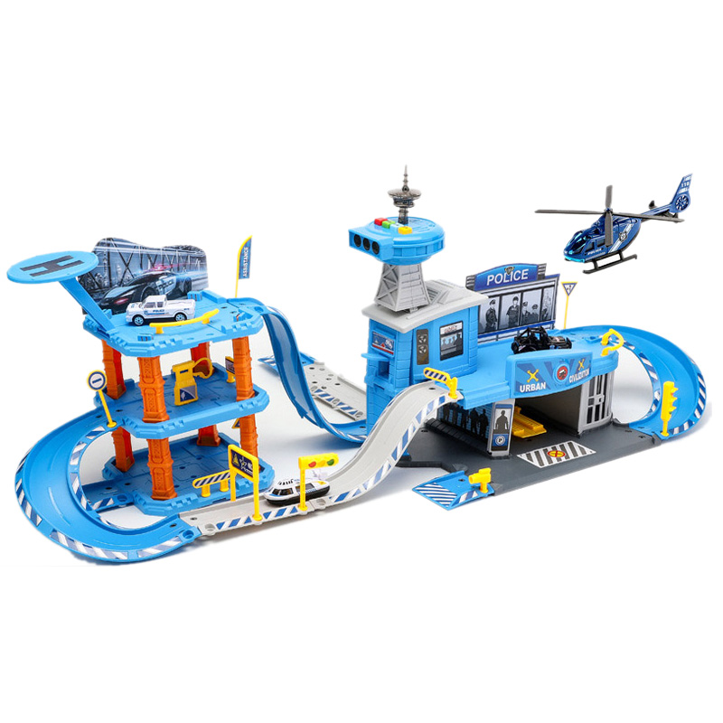 Parking Lot Toy Set Stop Multi-Car Large Engineering / Police / Fire Rail Car Children Garage For Cars Toys Boy Car Model