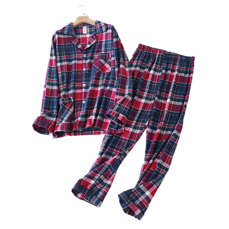 2020 New Fashion Plaid 100% Cotton Pajamas Sets Mens Sleepwear Casual Male Sleep Clothing Simple Pyjamas Men Homewear Hombre