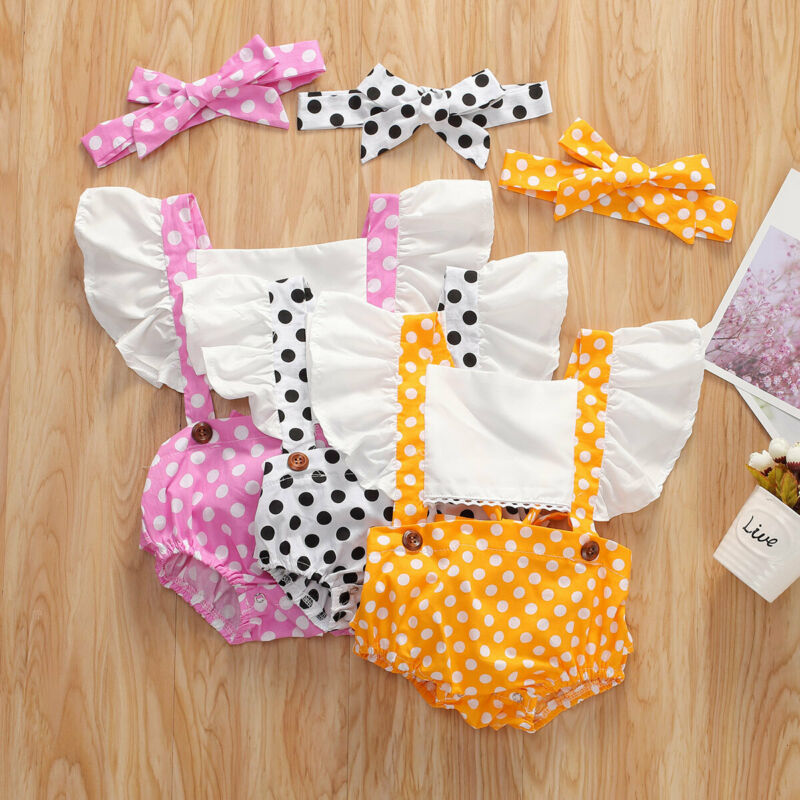 Fashion Newborn Baby Girls Summer Clothes Set Polka Dot Jumpsuit Outfits