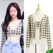 NCLAGEN Two Piece Set Women Plaid Long Sleeve Cardigans Knitted Sweater V Neck C