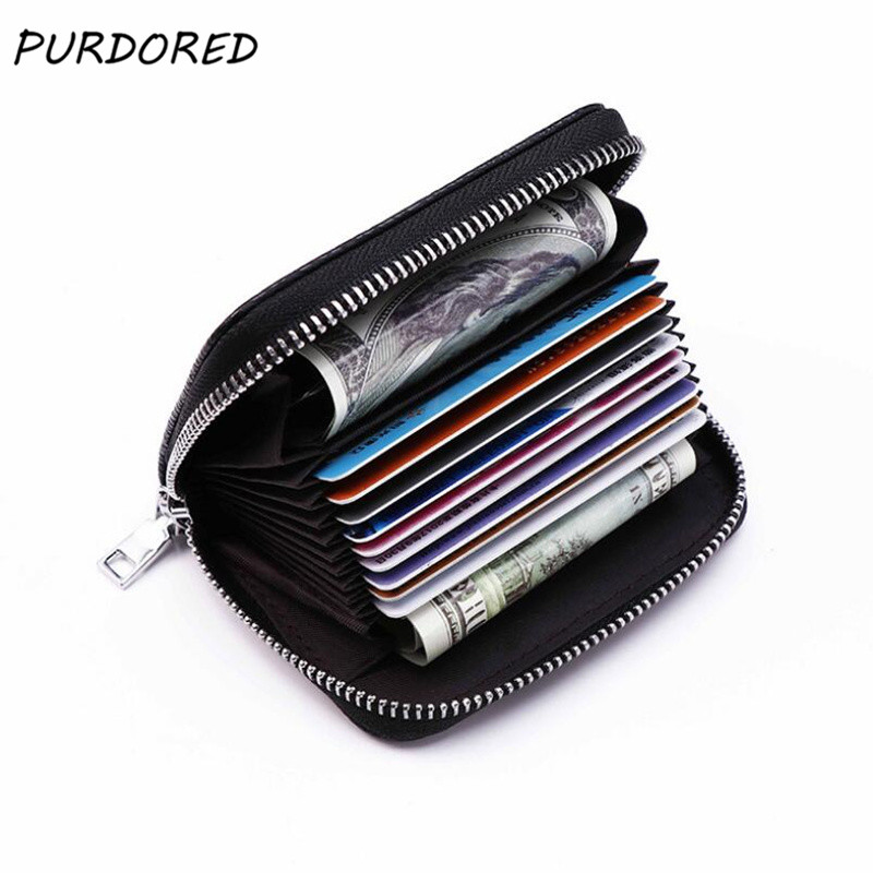 PURDORED 1 Pc Solid Women Card Holder PU Leather Credit Card Holder Zipper Business Card Pocket Unisex Card Case Travel Wallet
