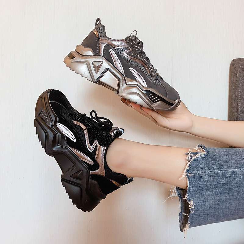 Ins Black Sneakers 2019 Autumn And Winter New Thick-bottomed Rhinestones Increased Sports Running Shoes Chaussures Femme ZZ-44