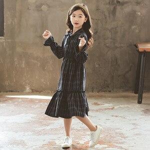 Vestidos para niñas de primavera, trajes a cuadros coreanos para adolescentes, elegantes vestidos azules para niñas de 4, 5, 6, 7, 8, 9, 10, 11, 12, 13, 14, 15 años