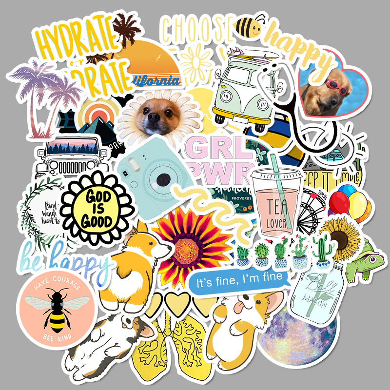 50Pcs/pack Simple Cartoon Vsco Stickers For Luggage Skateboard Phone Laptop Bicycle Wall Guitar Sticker DIY Waterproof Sticker