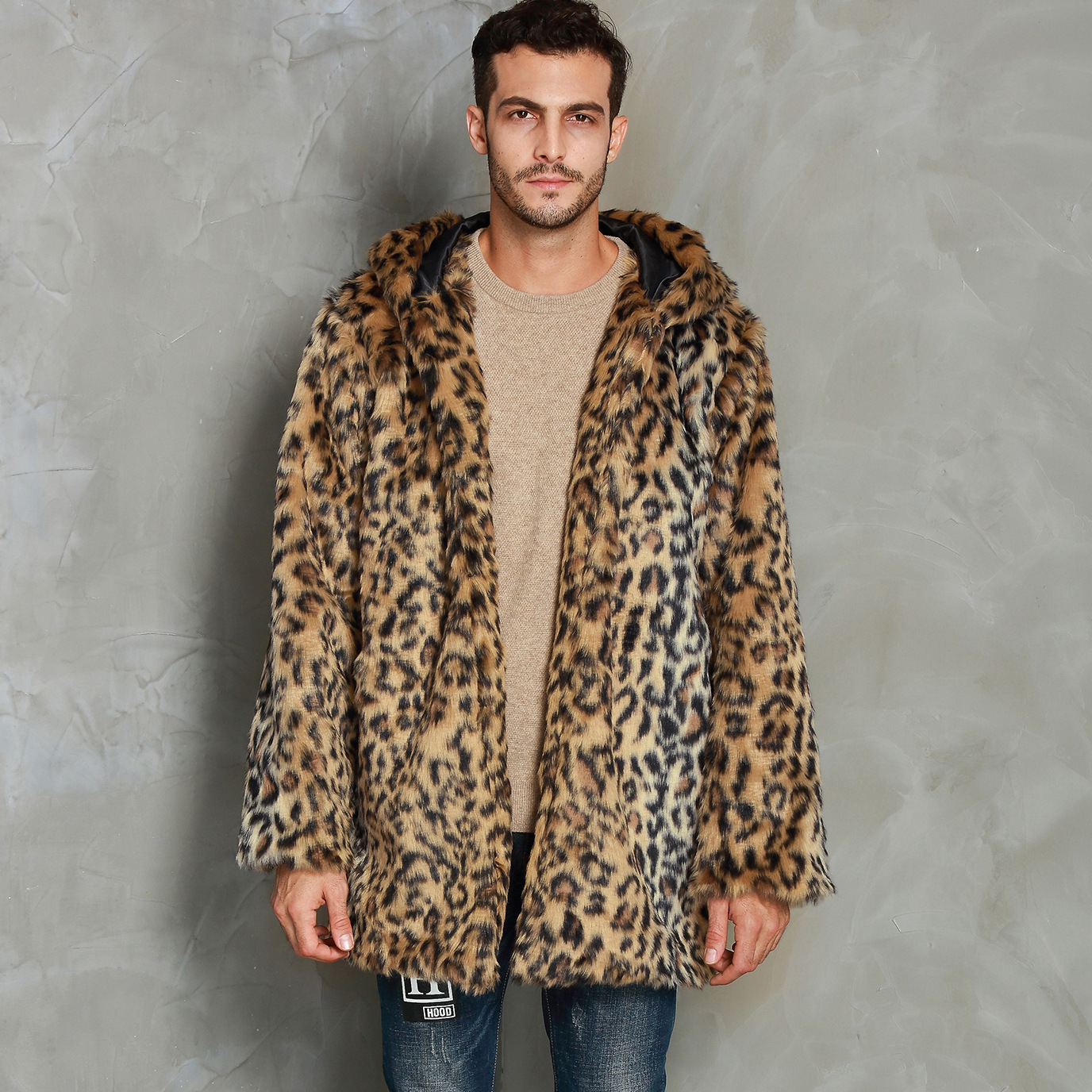F0284 European And American Autumn And Winter Clothing Leopard Print Men Faux Fur Coat