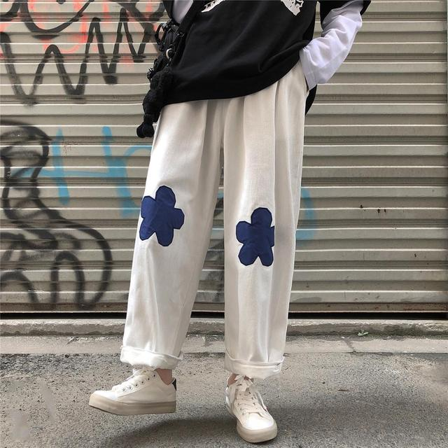 2020 Men's Embroidery Flower Printing Wide Leg Pants Lattice Leisure Casual Pants Hip-hop Style High Quality Trousers Size M-XL 3