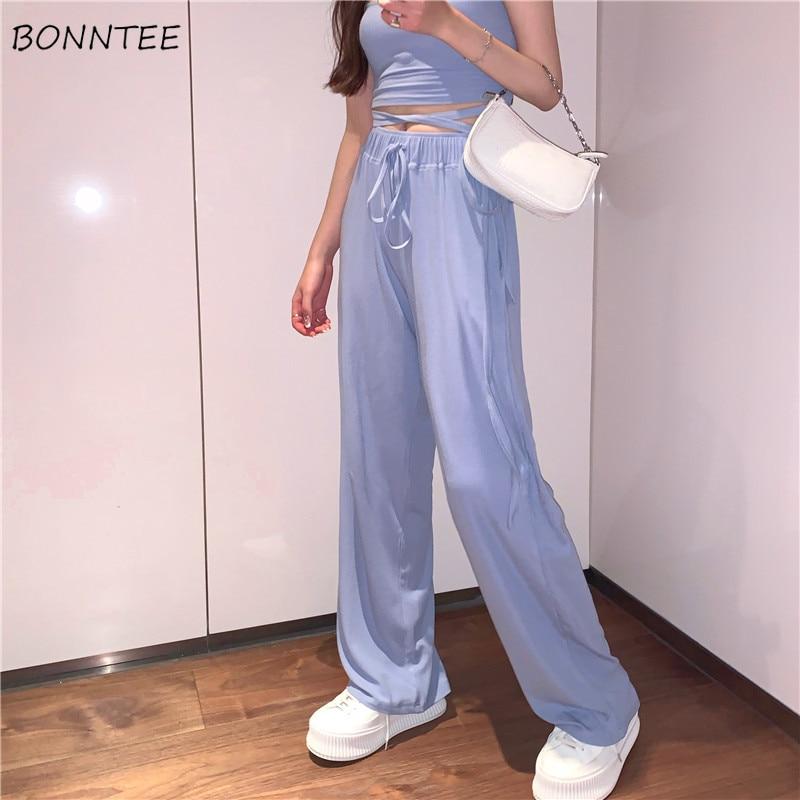Wide Leg Pants Women Elegant Simple Adjustable Soft Summer Breathable Femme Capris Ulzzang Solid All-match Fashion Lady Trouser