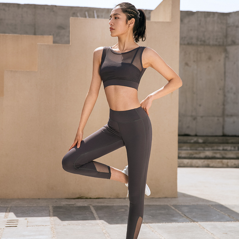 Women Seamless Yoga Suits Padded Racerback Tops+High Waist Yoga Pants Pants HBQ