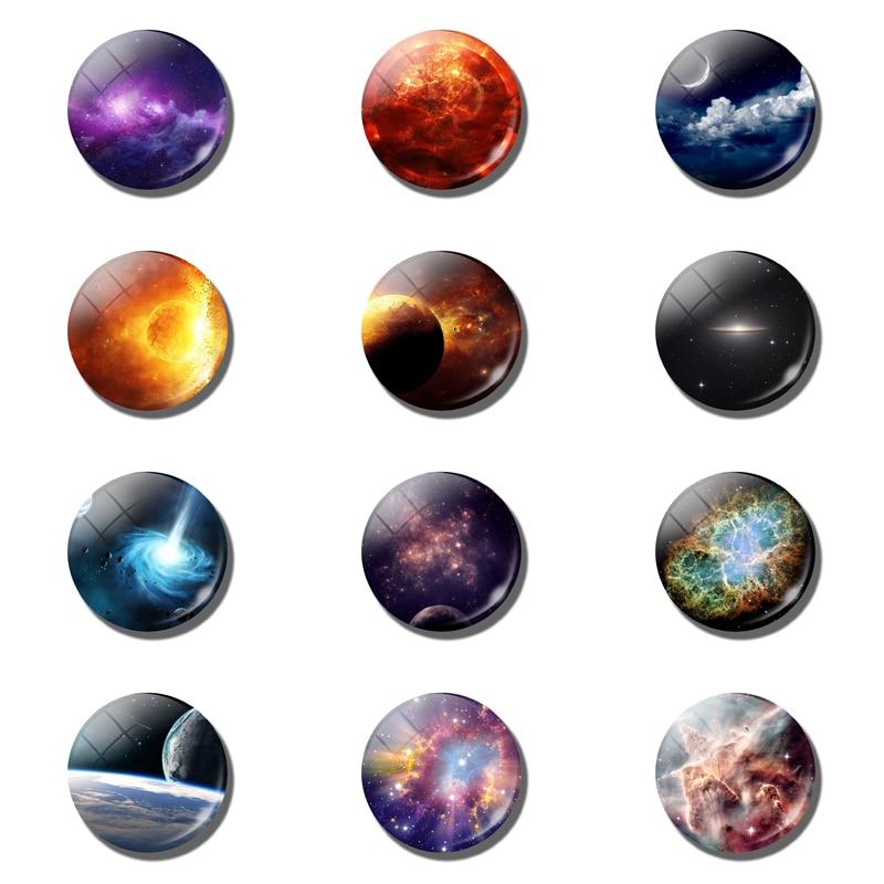 Звездное небо, туманность, Вселенная, стекло, фотомагнит на холодильник, 30 мм, доска для сообщений, наклейка на холодильник, украшение для дома