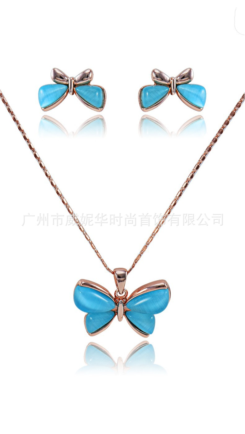 Jewelry-Set Viennois Opal Necklace Drop-Earrings Alloy-Accessor Butterfly American-Style
