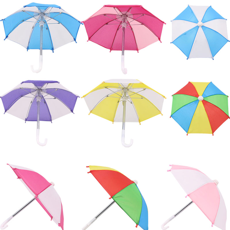 Splicing Two-Color Seven-Color Sun Umbrella Shade Suitable 18-Inch American Dolls And 43cm Baby doll Clothes Accessories, Gifts(China)