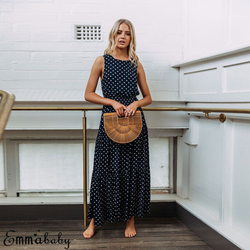 H78fc4a4dec544ab0bd323e232670d4c3W 2019 Bobo Women Dark Blue Boho Loose Sleeveless Holiday Dot Print Long Maxi Dress Evening Party Beach Dresses Summer Sundress