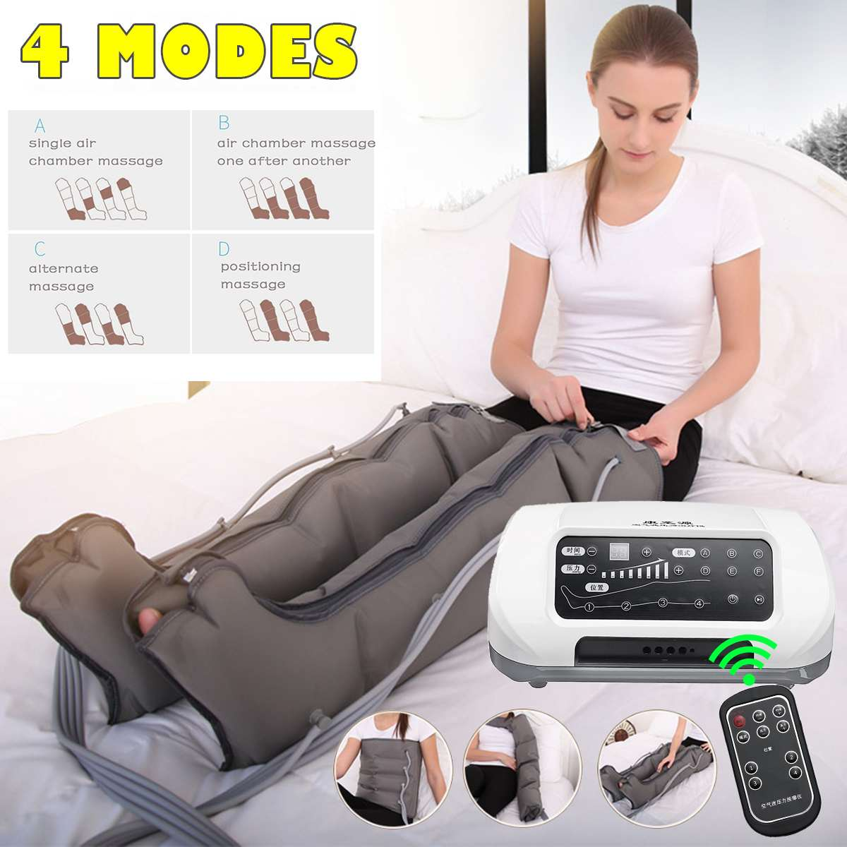New 4 Air Chambers Leg Compression Massager Smart Vibration Infrared Therapy Arm Waist Pneumatic Air Wrap Relax Pain Relief 220V