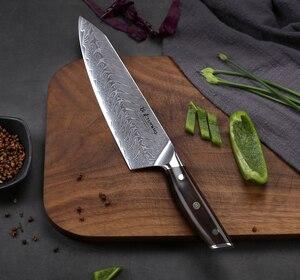 Image 2 - TURWHO 8.2 inç şef bıçağı japon şam çelik mutfak bıçağı Pro paslanmaz çelik Gyuto dilimleme et bıçak abanoz kolu